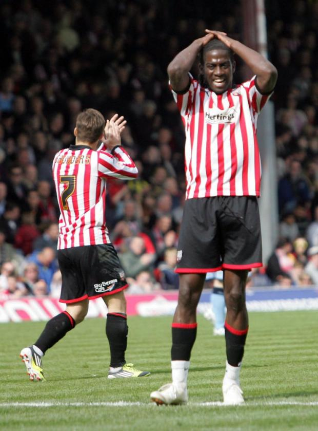 So close: Brentford striker Clayton Donaldson shows his frustration as the Bees are held by Notts County