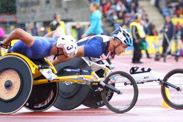 Record man: David Weir, right, in action against Marcel Hug at the Crystal Palace grand prix last year