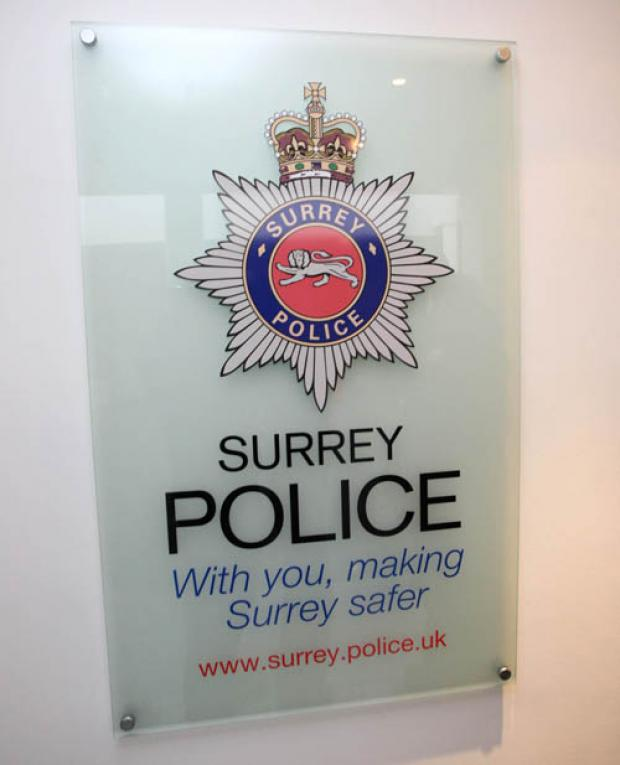 Surrey Police are appealing for information after a masked robber held up a cash-in-transit van at gunpoint