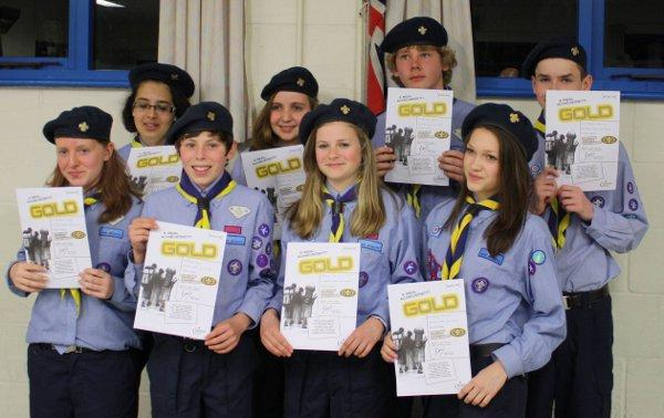 Scouts from 8th/14th Epsom Air Scouts with their awards