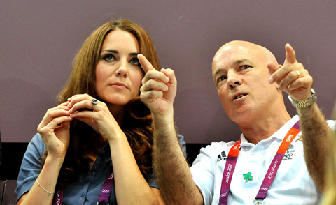 The Duchess of Cambridge gets a tactics lesson from John Brewer head of Team GB's women's handball team [picture: John Stillwell/PA Wire]