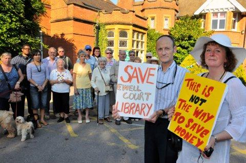 Protests were held outside Ewell Court library in October last year