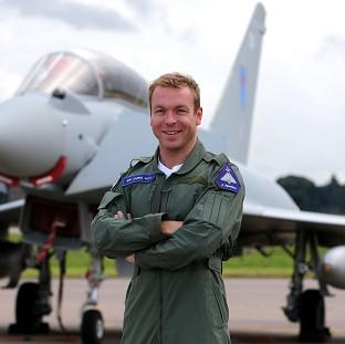 Sir Chris Hoy swapped his bike for an RAF Typhoon as he took to the skies above Scotland