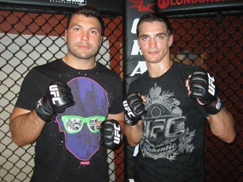 Battler: Mixed martial arts fan Alex Corbisiero, left, meets UFC's John Hathaway
