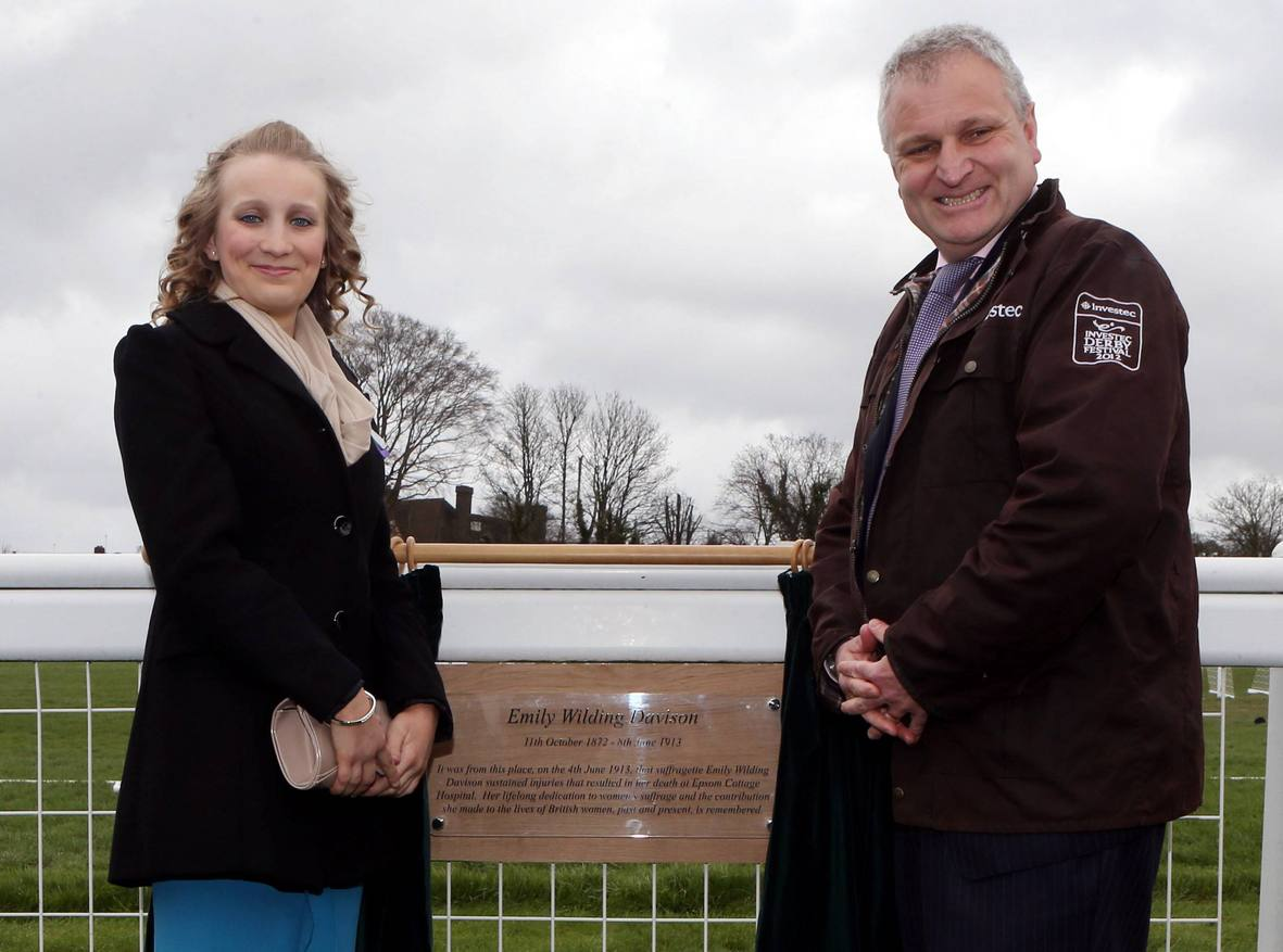 Suffragette martyr Emily Davison remembered at Epsom Derby plaque unveiling