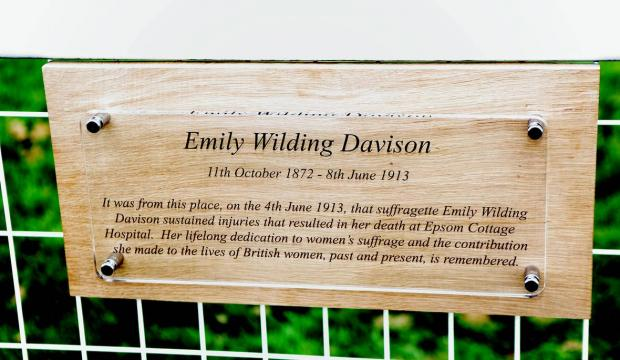 Epsom Guardian: The plaque at Epsom Downs Racecourse