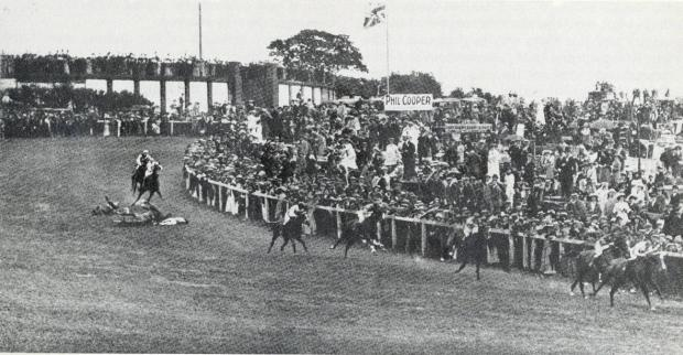 Epsom Guardian: A photograph of the fatal race showing Emily Davison hit by the King George V's horse, Anmer