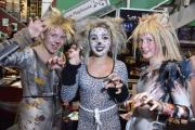Katie Williams, Keeley Hughes and Emma Jardine in costumes from musical Cats