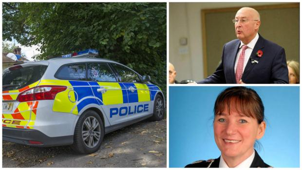 Clockwise from left: Surrey Police car in Ashtead, Police and Crime Commissioner Kevin Hurley and Chief Constable Lynne Owens