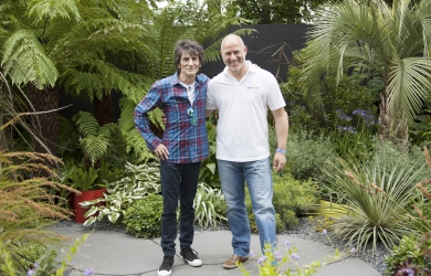 Nominated: Gary Douch, right, pictured with Rolling Stone Ronnie Wood at the Hampton Court Flower Show