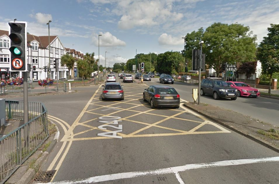 There has been a serious crash between Ewell and Tolworth. Photo: Google Maps/Streetview