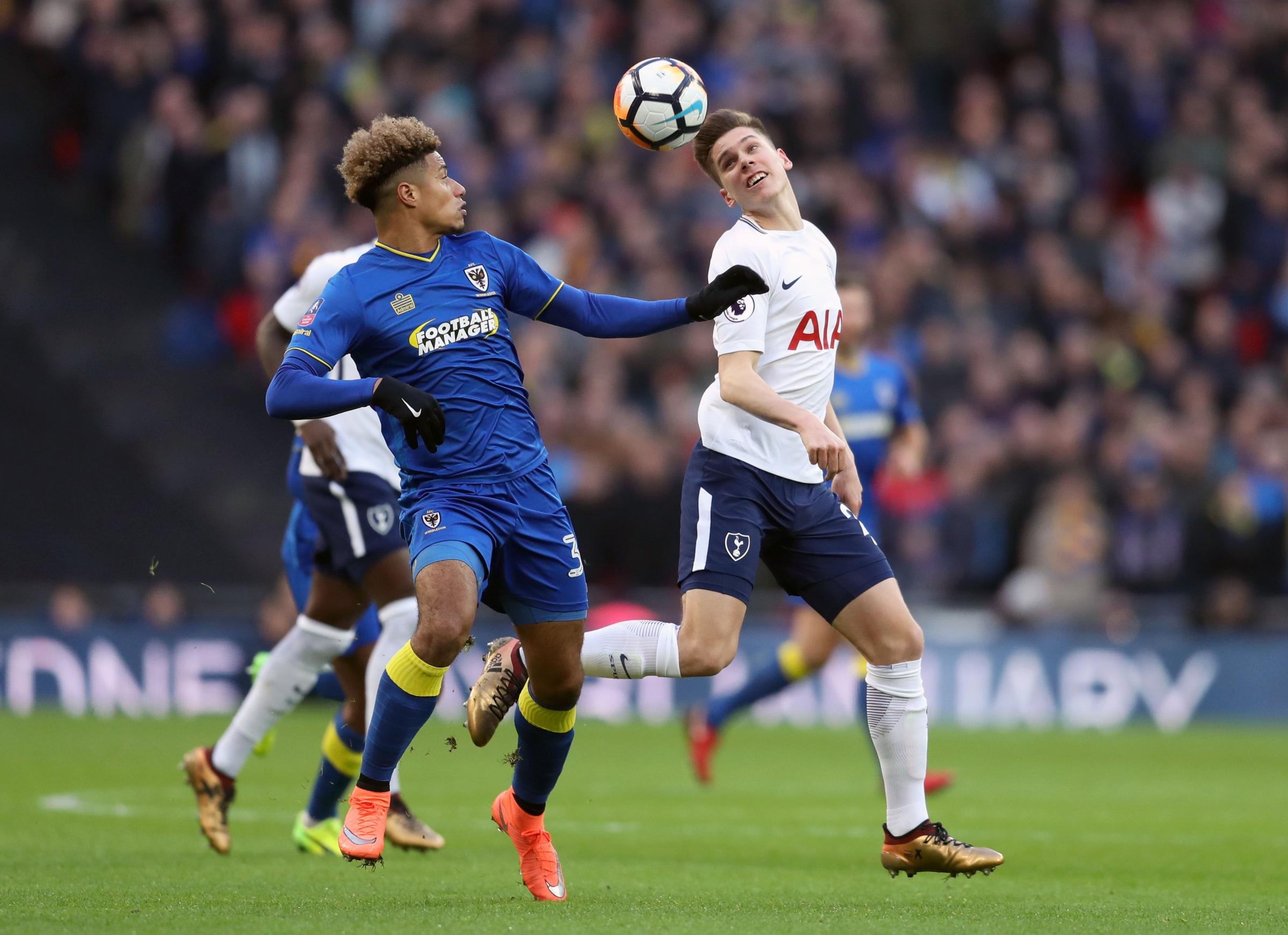 Lyle Taylor and Juan Foyth. Photo: Adam Davy/PA Wire