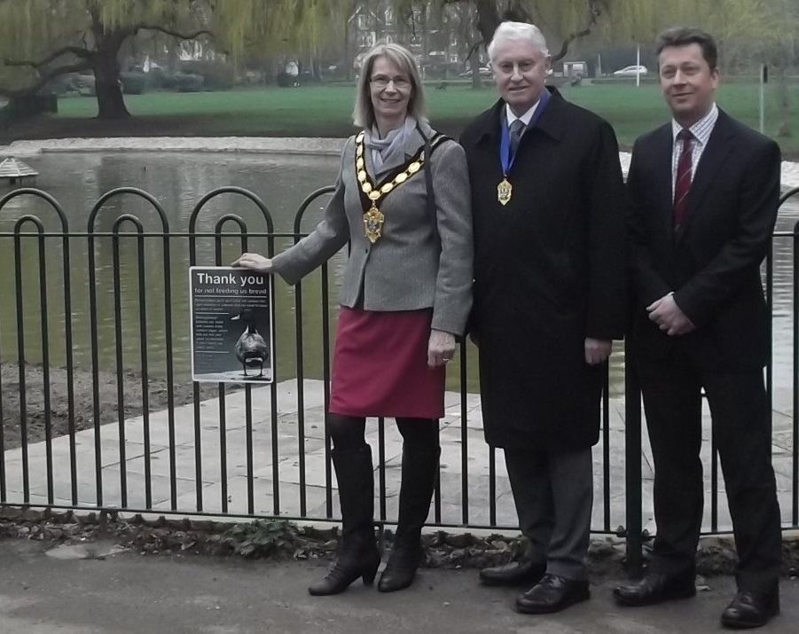 Epsom & Ewell mayor at Rosebery Park pond