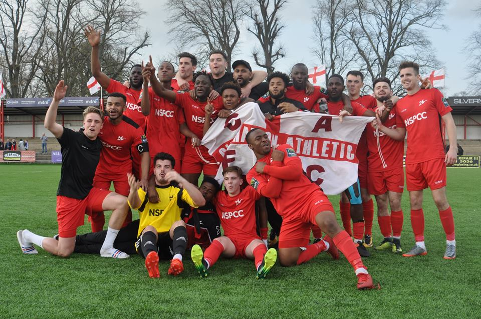 Carshalton Athletic celebrate gaining promotion after their thrilling 4-3 victory over Whyteleafe on Saturday. Picture: Ian Gerrard