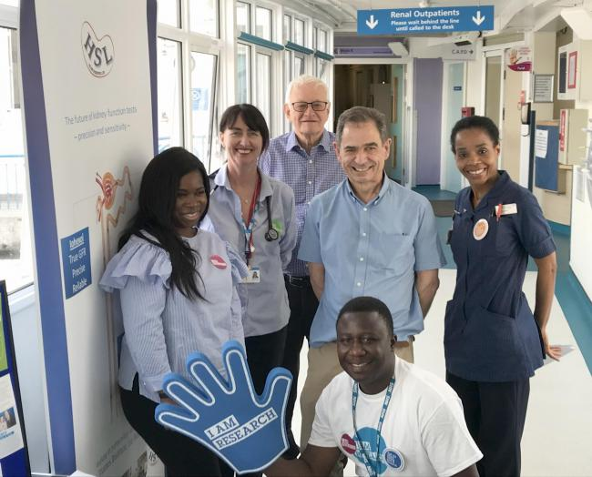 Staff by the Renal department information stall with patient Anita Abena-Amoako (far left)